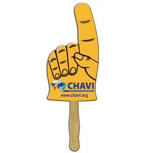 "Hand w/ Raised Finger Rally Hand Sign w/ 12"" Wooden Stick"